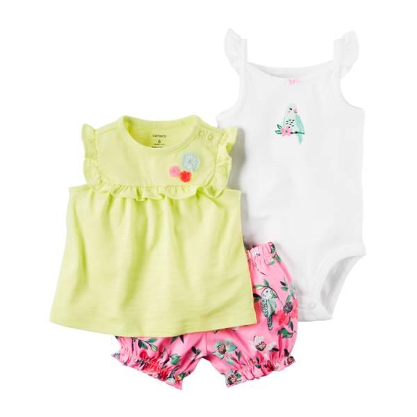 Baby Girls' 3-piece Bodysuit & Diaper Cover Set