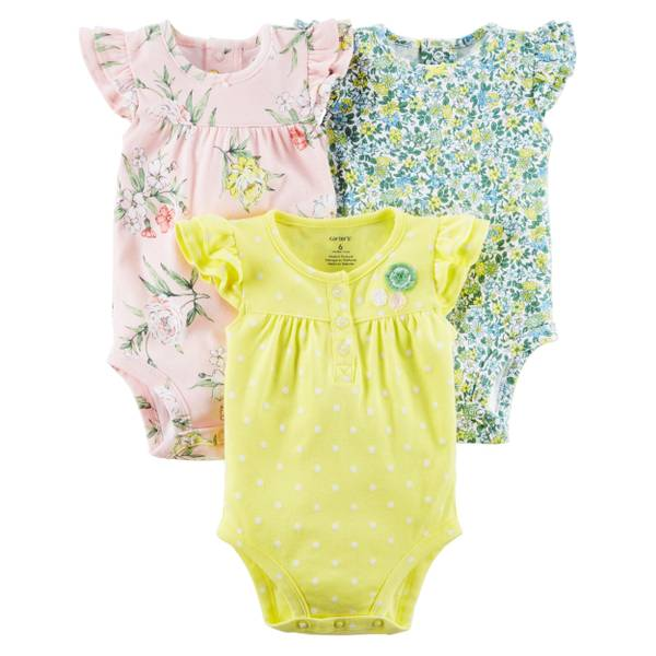 Baby Girls' 3-pack Flutter Sleeve Bodysuits