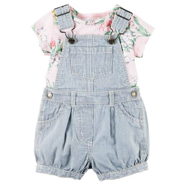 Baby Girls' 2-piece Tee and Shortalls Set