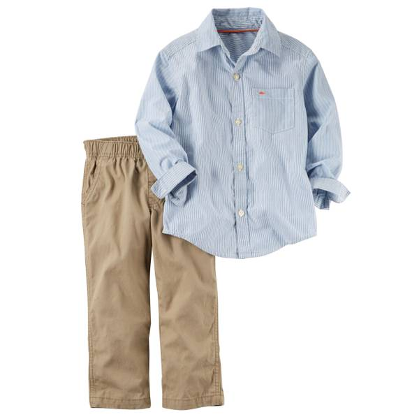Baby Boys' 2-piece Button-Front Shirt & Pant Set