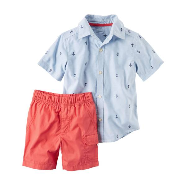 Baby Boys' 2-piece Short Sleeve Button-Front Shirt & Shorts Set
