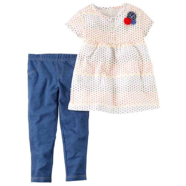 Baby Girl's Ivory & Blue 2-Piece Babydoll Top & Denim Leggings Set