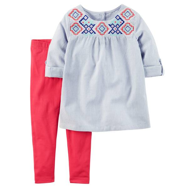 Baby Girl's Blue & Red 2-Piece Babydoll Top & Leggings Set