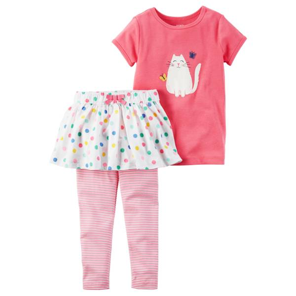 Baby Girls' 2-piece Shirt & Skirted Pant Set