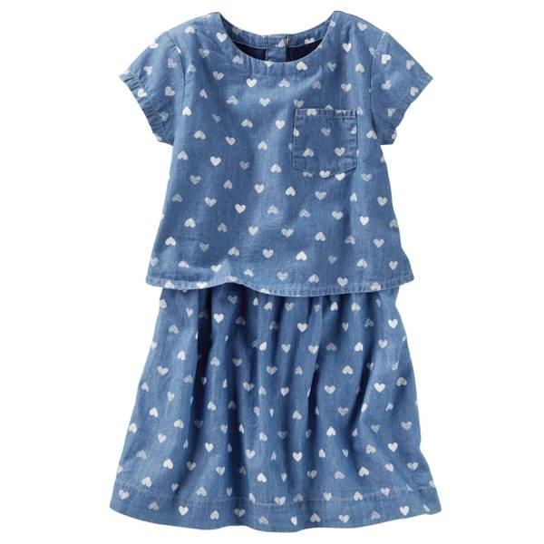 Girls' Denim Heart Print Dress