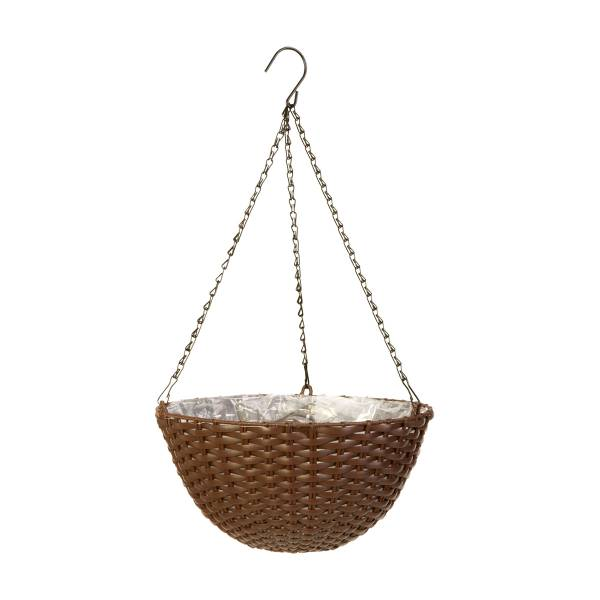 "14"" Espresso Brown Resin Wicker Hanging Basket"