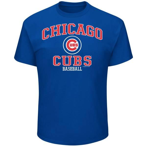 Men's Royal Blue Chicago Cubs Logo Crew Neck Tee