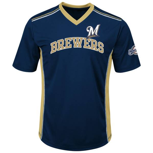 Brewers Short Sleeve Synthetic Vee Top