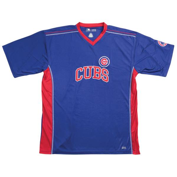 Big & Tall Men's Chicago Cubs Short Sleeve Synthetic V-Neck Tee