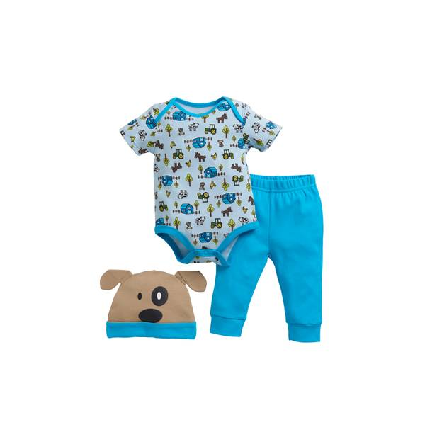 Baby Boys' 3-piece Outfit & Hat Set