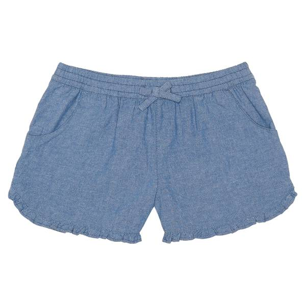 Big Girls' Chambray Ruffle Bottom Shorts
