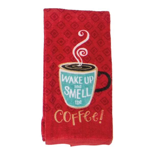 Wake Up And Smell The Coffee Fiber Reactive Kitchen Towel