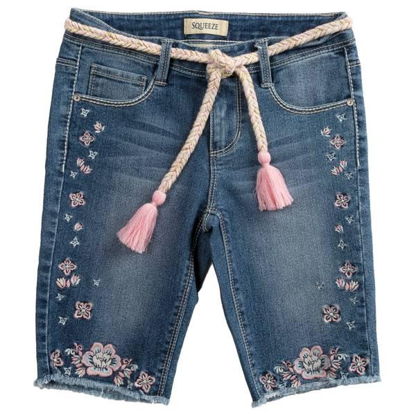 Big Girls' Flower Embroidered Bermuda Shorts