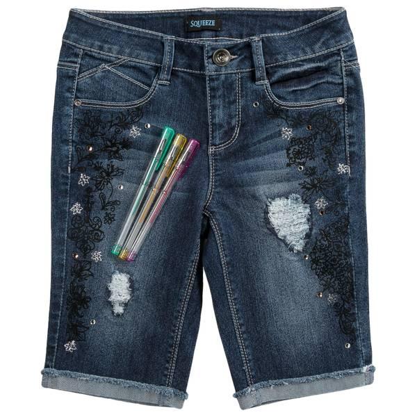 Big Girls' Scribble Bermuda with Denim Coloring Pens