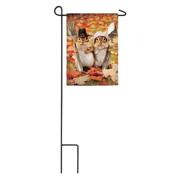 Thanksgiving Gothic Chipmunks Garden Satin Flag