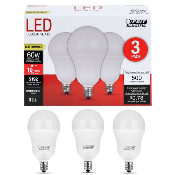 65W/60W Non-Dimmable LED A15 Light Bulb, E12, 3-Pack