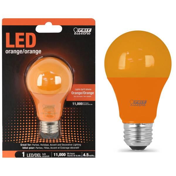 45W Non-Dimmable LED A19 Light Bulb, E26, Orange