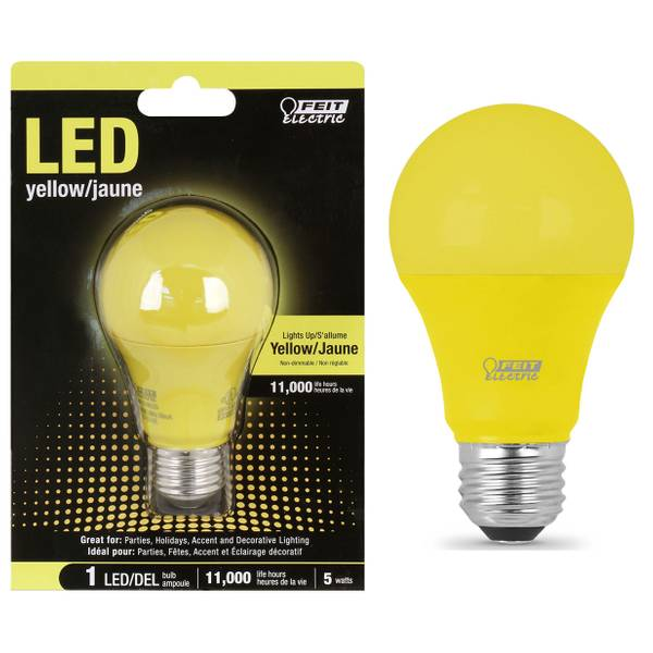 5W Non-Dimmable LED A19 Light Bulb, E26, YelloW