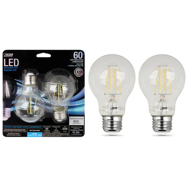 7W/60W LED A19 Light Bulb, E26 Base, 2-Pack