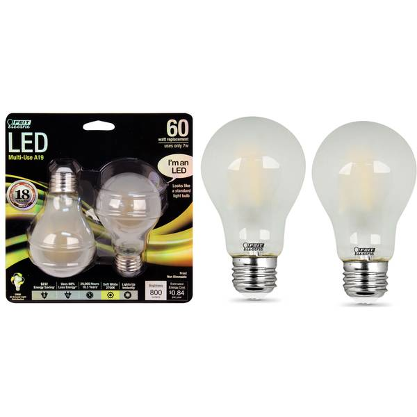 7W/60W Non-Dimmable LED A19 Light Bulb, E26, 2-Pack, Frost