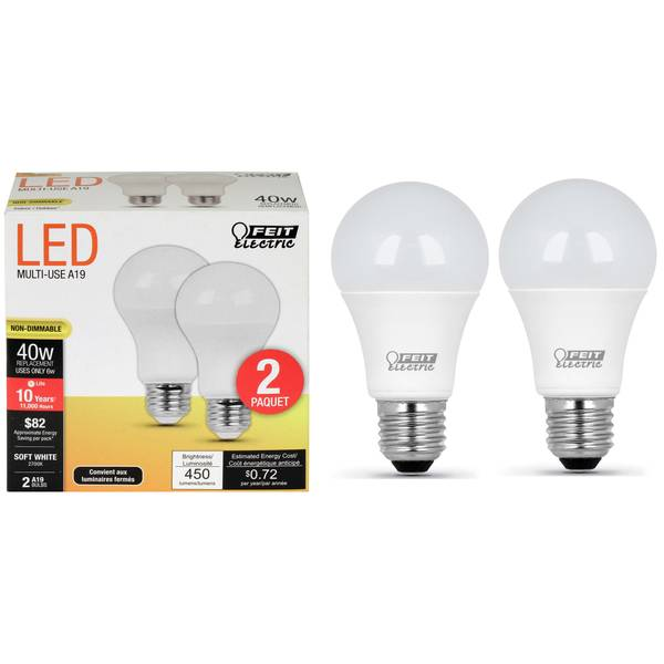 6W/40W Non-Dimmable LED A19 Light Bulb, E26 Base, 2-Pack