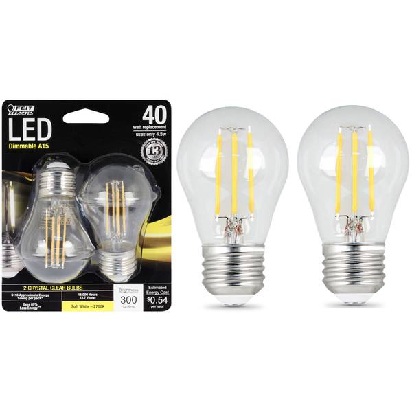 45W/40W LED A15 Light Bulb, E26, 2700K, 2-Pack