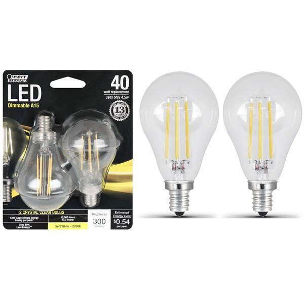 45W/40W LED A15 Light Bulb, E12, 2700K, 2-Pack