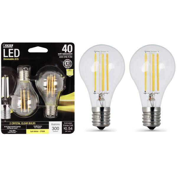 Feit Electric Bpa1540n 827 Led 2 A15 Filament 40w: FEIT Electric 45W/40W LED A15 Light Bulb, E17, 2700K, 2-Pack