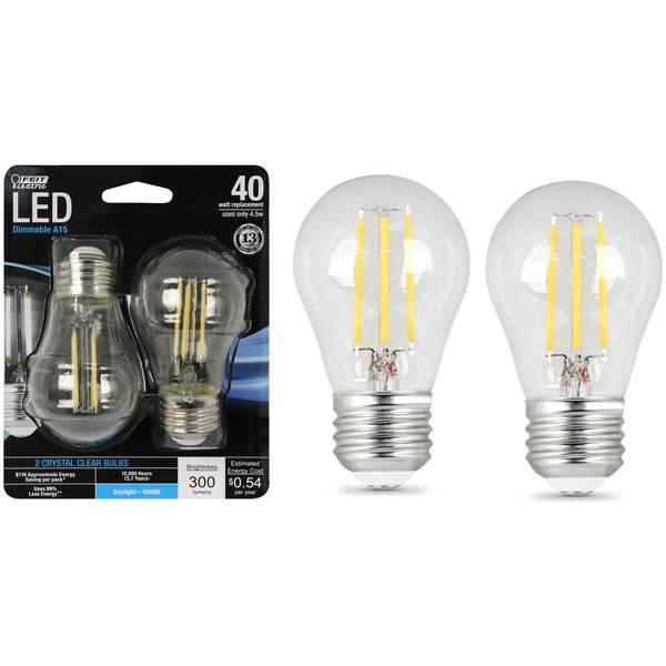 45W/40W LED, A15 Light Bulb, E26, 5000K, 2-Pack