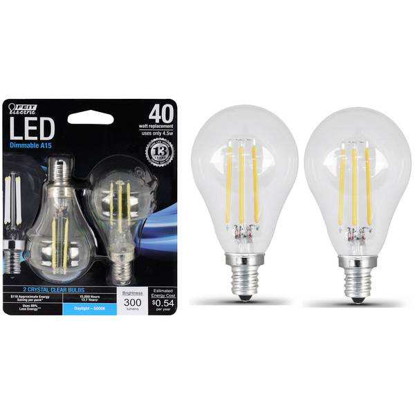 45W/40W LED, A15 Light Bulb, E12, 5000K, 2-Pack