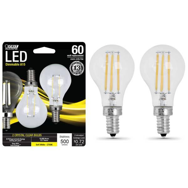 6W/60W LED A15 Light Bulb E12 Base, 2-Pack