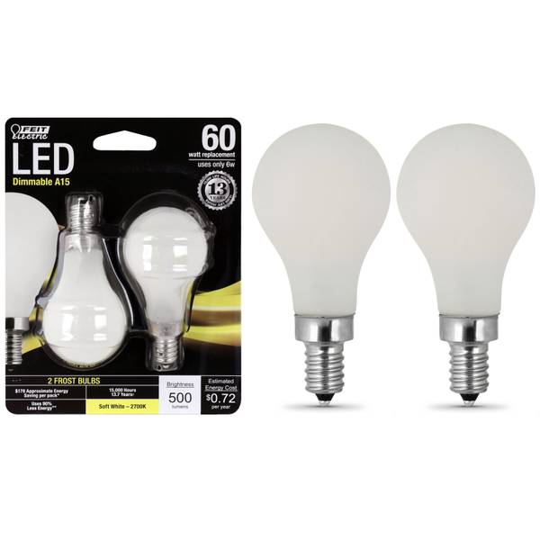 6W/60W LED A15 Light Bulb E12 Base Frost, 2-Pack