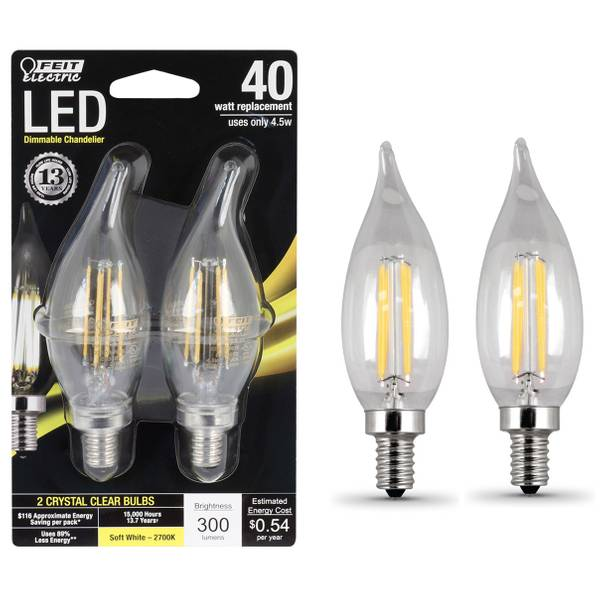 45W /40W Dimmable LED, Flame Tip, E12 Base, 2-Pack