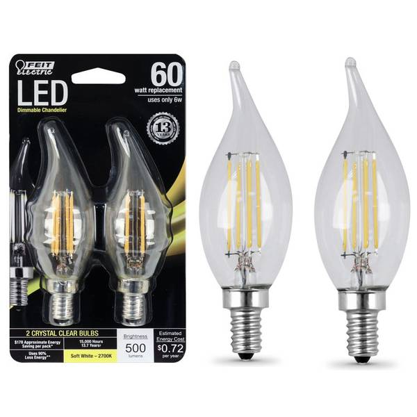 6W/60W Dimmable LED, Bent Tip, E12, 2700K, 2-Pack