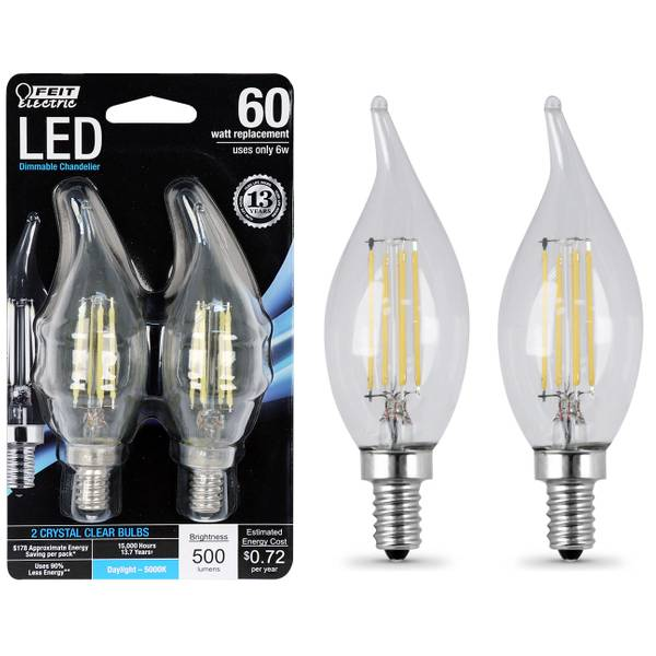 6W/60W Dimmable LED, Flame Tip, E12, 500K, 2-Pack