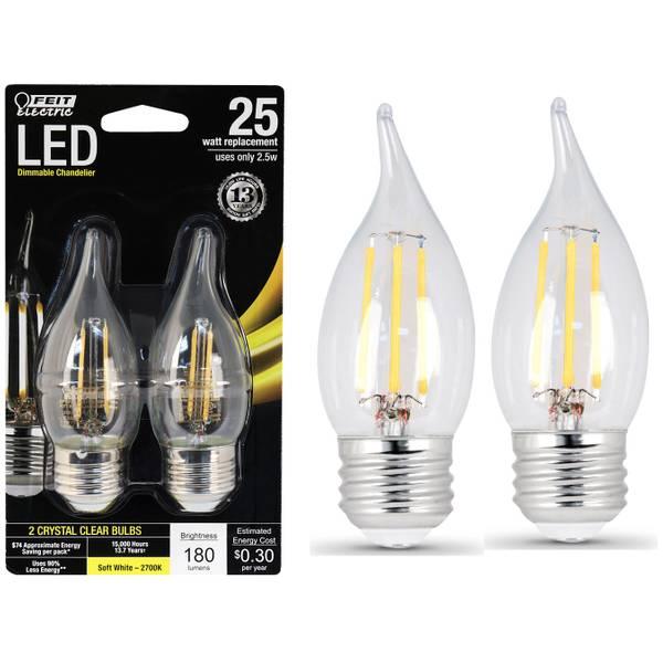 3W/25W LED, Flame Tip, E26, 2700K, 2-Pack