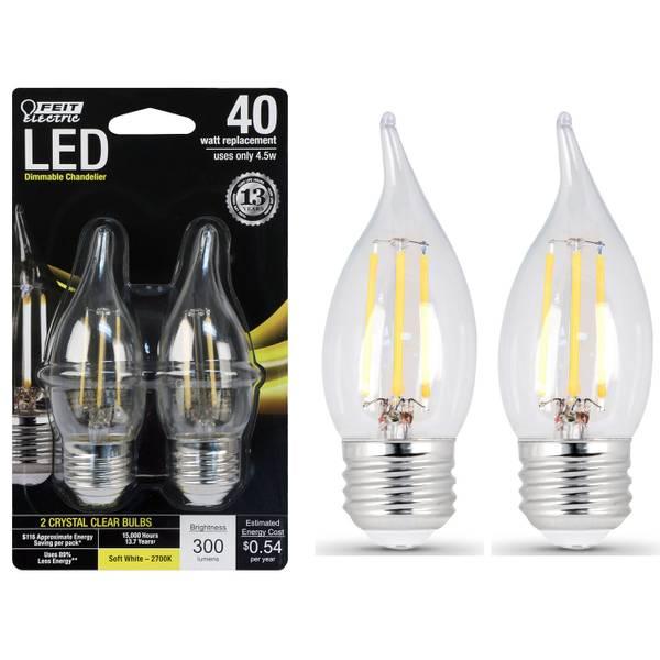 45W/40W LED, Flame Tip, E26, 2700K, 2-Pack
