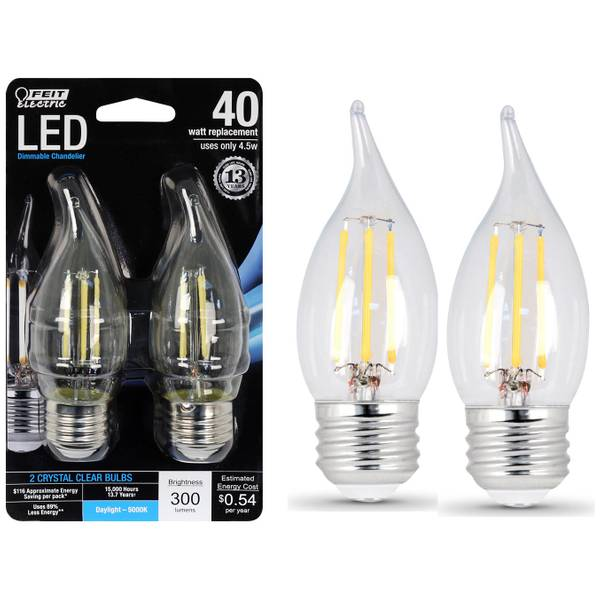 45W/40W Dimmable LED Flame Tip, E26, 5000K, 2-Pack