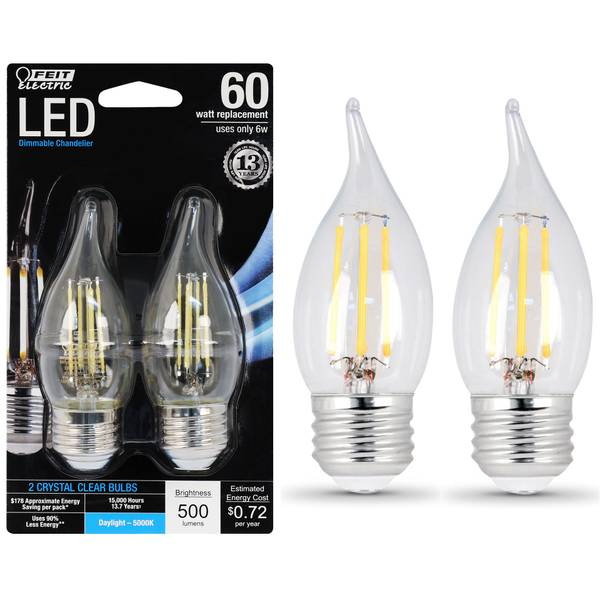6W/60W Dimmable LED, Flame Tip, E26, 5000K, 2-Pack