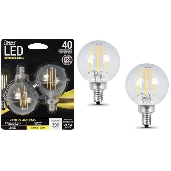 45W/40W LED G165 Light Bulb E12 Base, 2-Pack