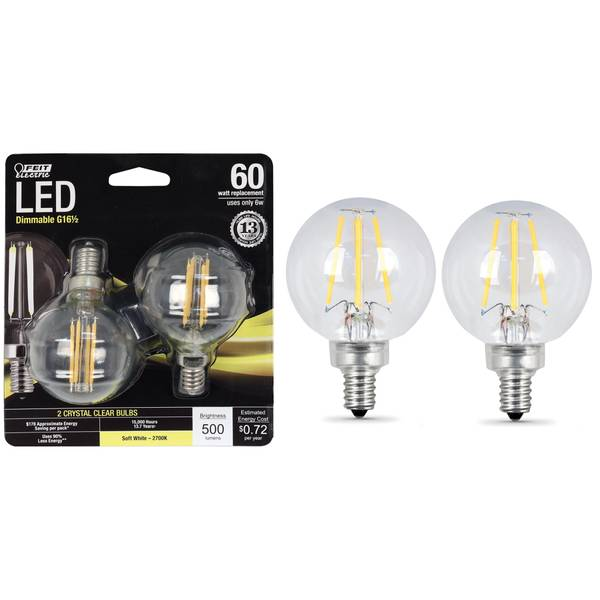 6W/60W LED G16 1/2 Light Bulb, E12 Base, 2-Pack