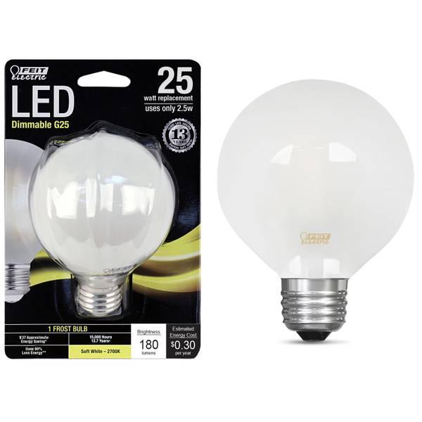 25W/25W LED G25 Light Bulb, E26 Base, Frost