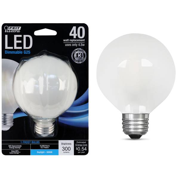 45W/40W LED G25 Light Bulb, E26, 5000K, Frost