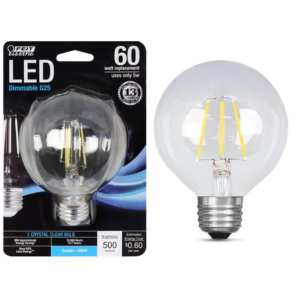 5W/60W LED G25 Light Bulb, E26 Base, 5000K