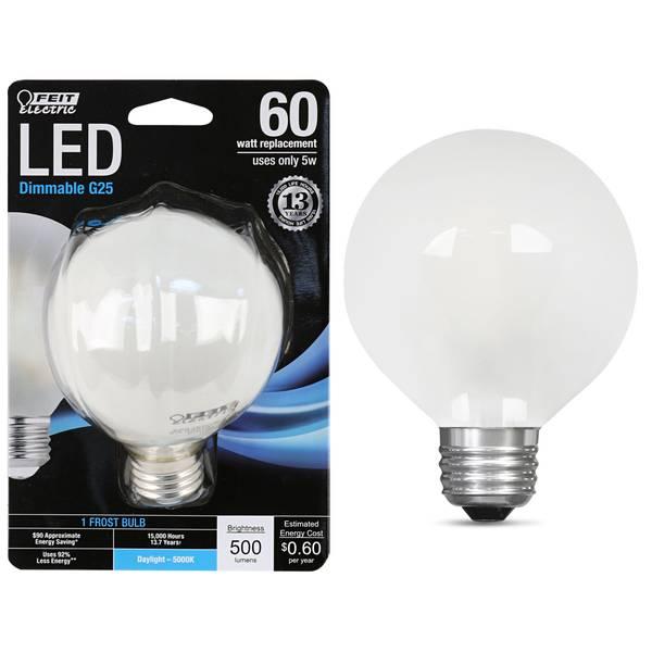 5W/60W LED G25 Light Bulb, E26, 5000K, Frost