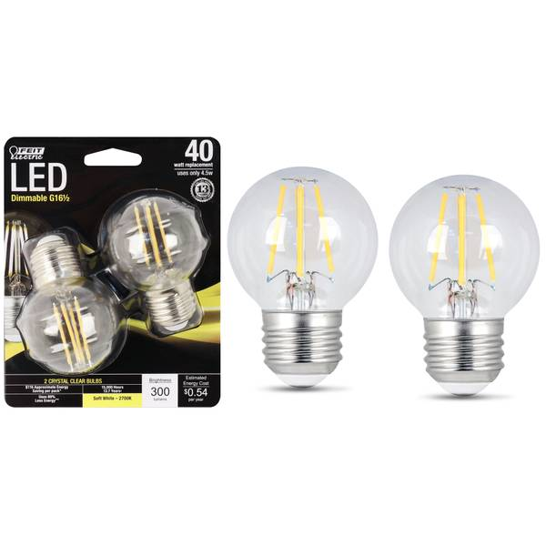 45W/40W LED G16 1/2 Light Bulb, E26 Base, 2-Pack