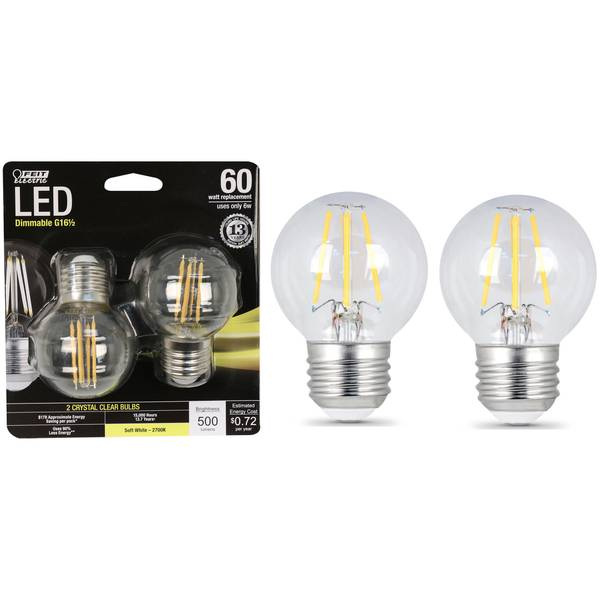 6W/60W LED G 16 1/2 Light Bulb, E26 Base, 2-Pack