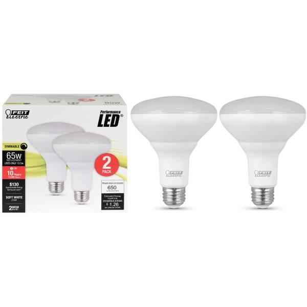95W/65W LED BR30 Light Bulb, E26 Base, 2-Pack