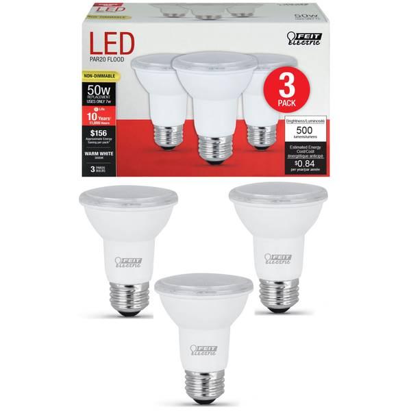 7W/50W Non-Dimmable LED PAR20 Light Bulb, E26, 3-Pack