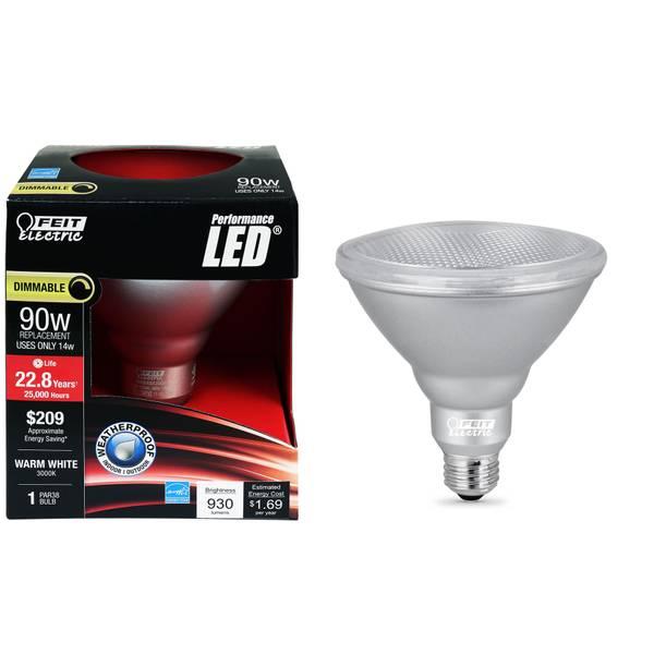 14W/90W LED PAR38 Light Bulb, E26 Base, 3000K